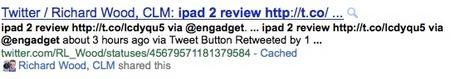 Выдача Google по Твиттеру