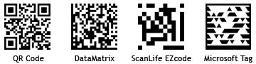 QR code, DataMatrix, ScanLife EZcode, Microsoft Tag