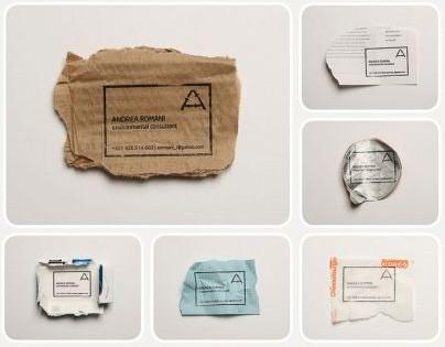 Визитка из обрывков бумаги