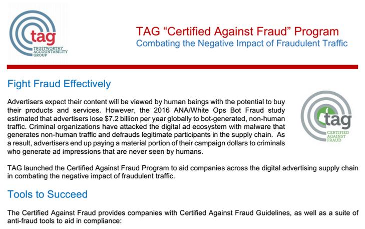 TAG запускает программу сертификации против мошенников в интернет-рекламе