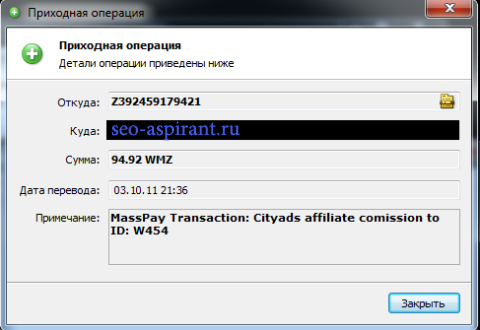 Скриншот выплаты от CityAds