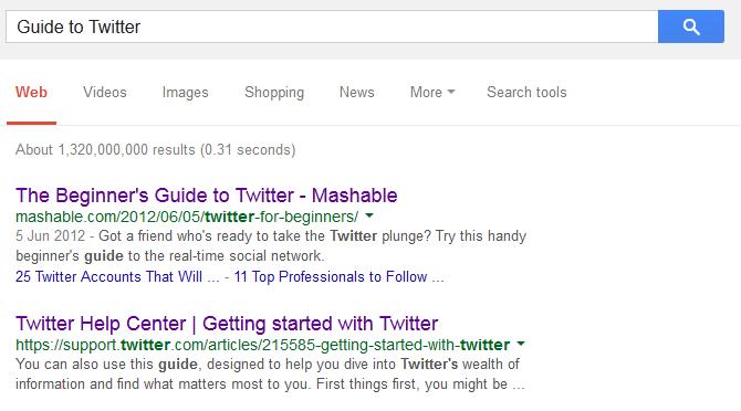 """Выдача Google по запросу """"Руководство по Твиттеру"""""""