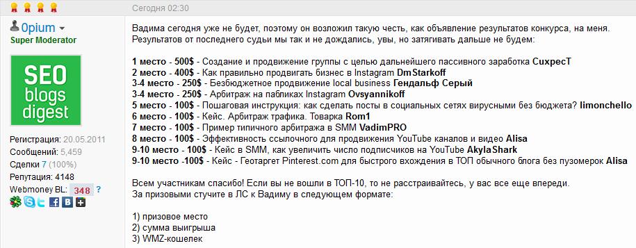 Итоги конкурса «Социальное продвижение» для SMMщиков от Webmasters