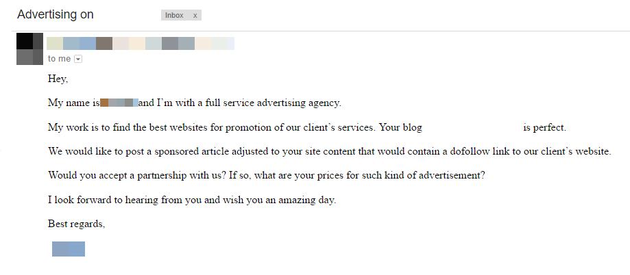 Предложение о продаже ссылок