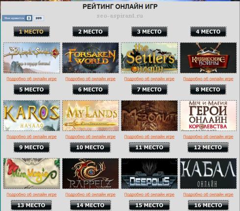 Топ онлайн игр