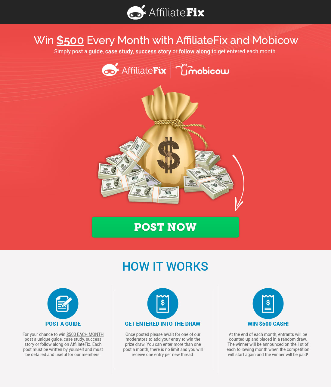 Win $500 Every Month! (Sponsored by Mobicow)