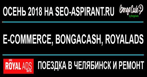 Осень 2018: начали лить на e-commerce, BongaCash и RoyalAds, поездка в Челябинск, ремонт