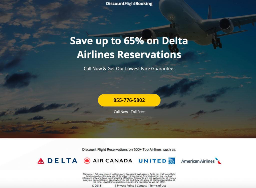Пример лендинга под Delta Airlines