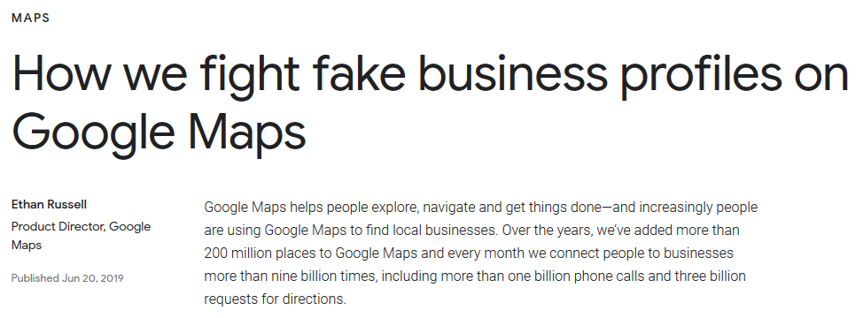 Гугл борется с фейковыми бизнесами