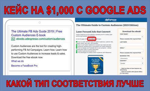 Эксперимент с типами соответствия ключевых слов в Google Ads на $1000