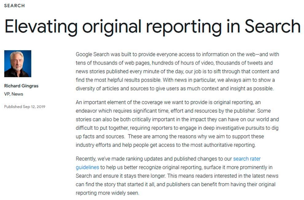 Оригинальные репортажи в Гугл получили преимущество