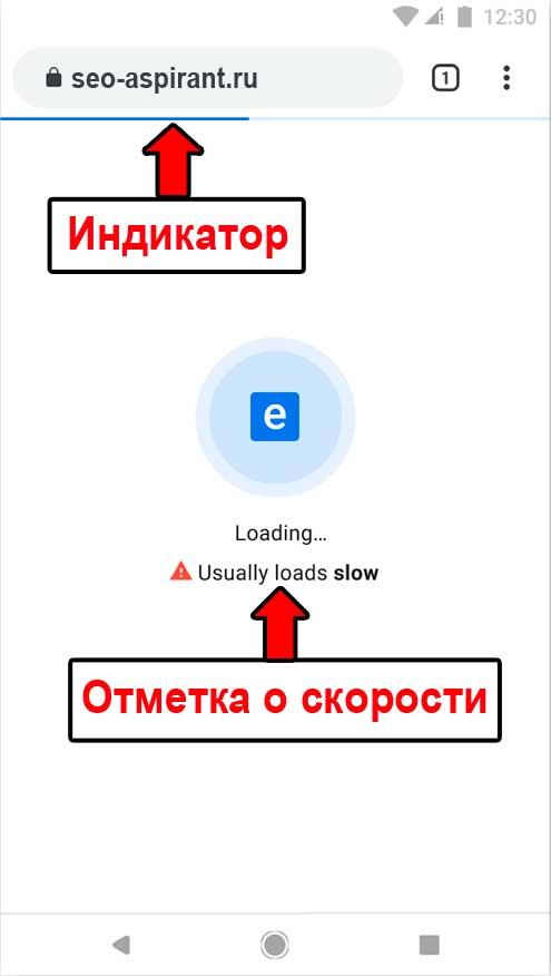 Индикатор и отметка о скорости сайта