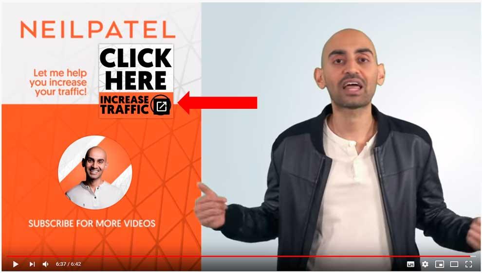 Призыв к действию, который использует Нил Патель в своих видео