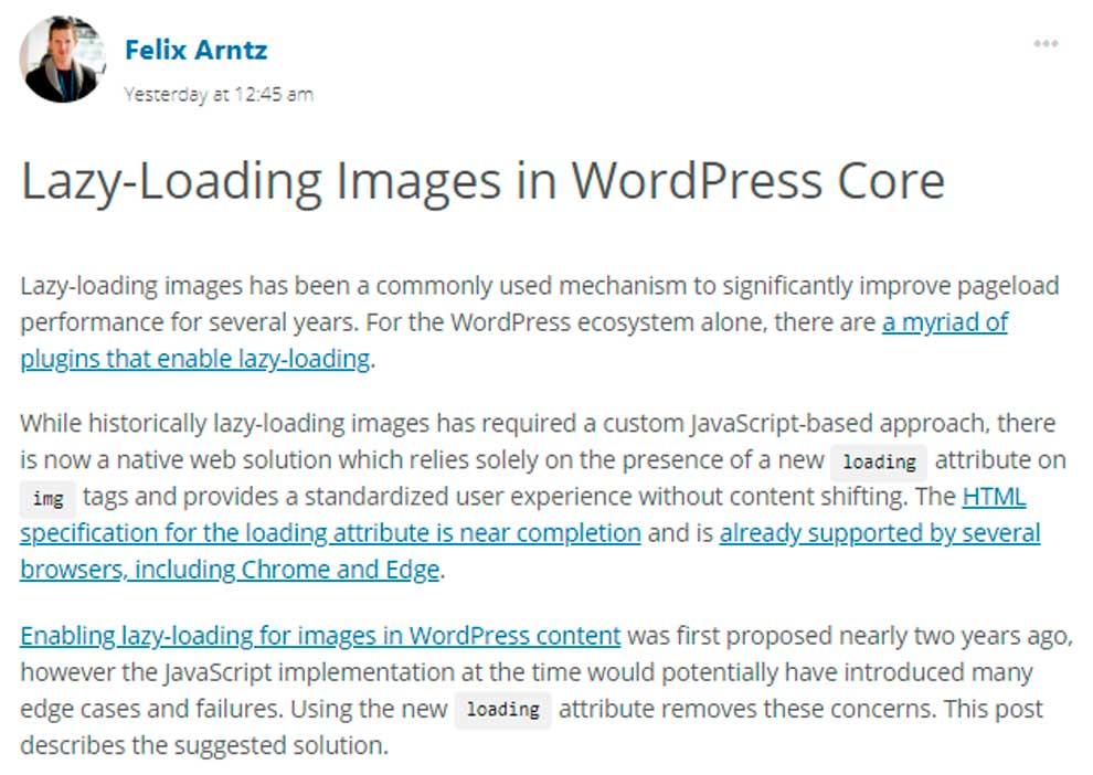 Ленивая загрузка изображений в ВордПресс - официальный анонс от разработчиков