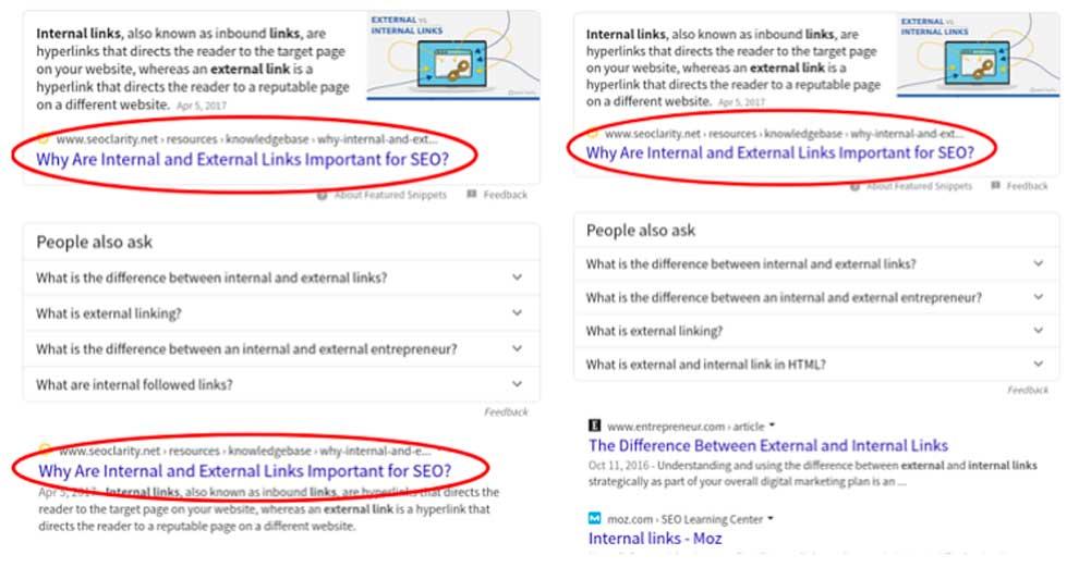 Изменения избранных сниппетов в Гугл