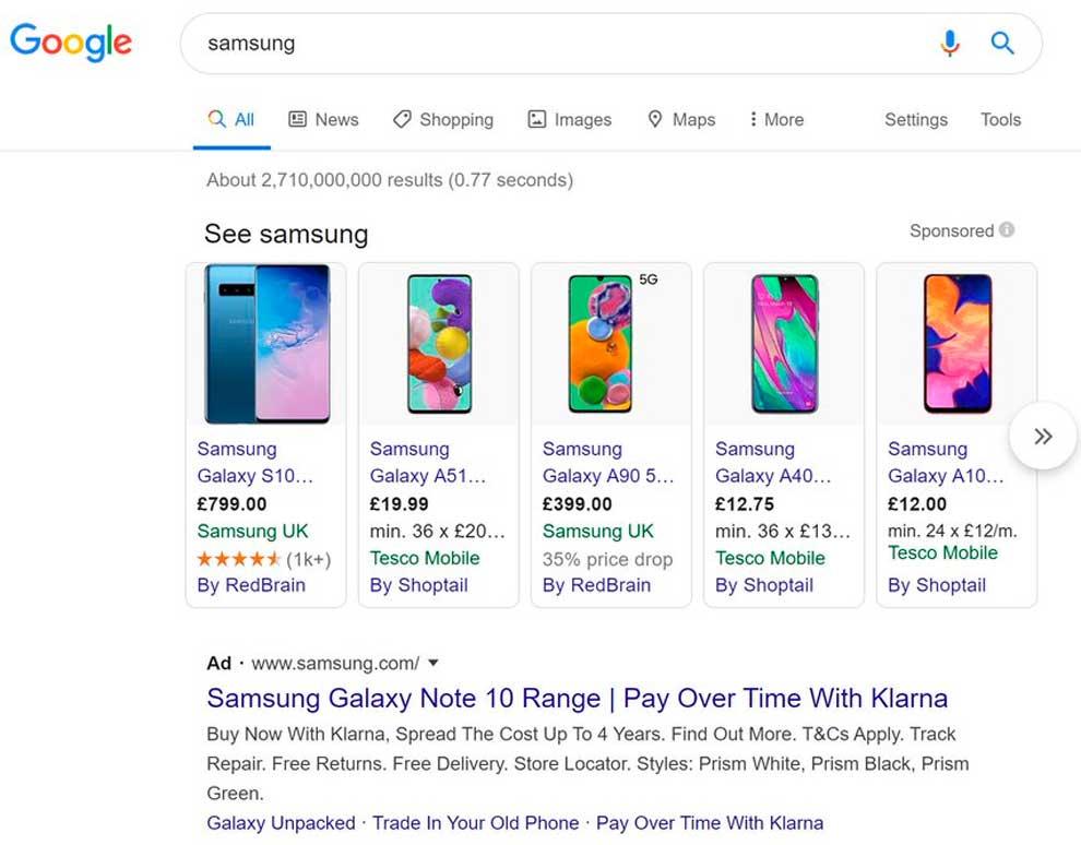 Гугл Покупки - Самсунг
