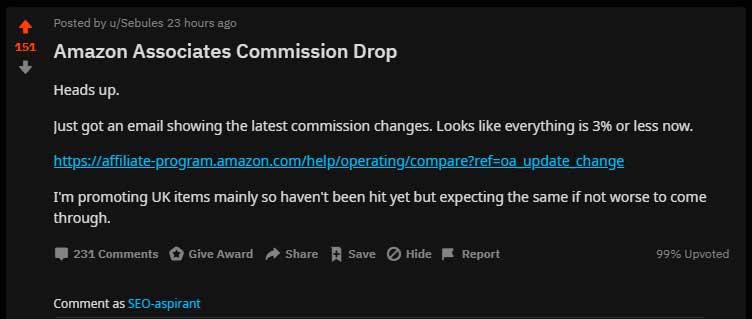 Падение комиссий Amazon Associates