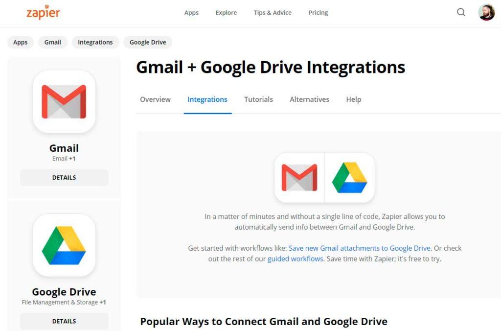 Gmai и Google Drive в Zapier