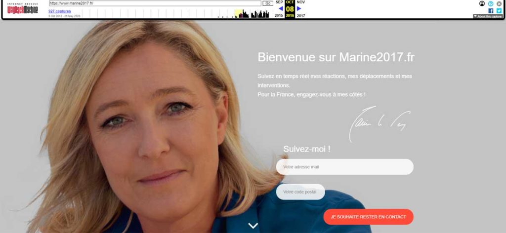 Сайт marine2017.fr в 2016 году