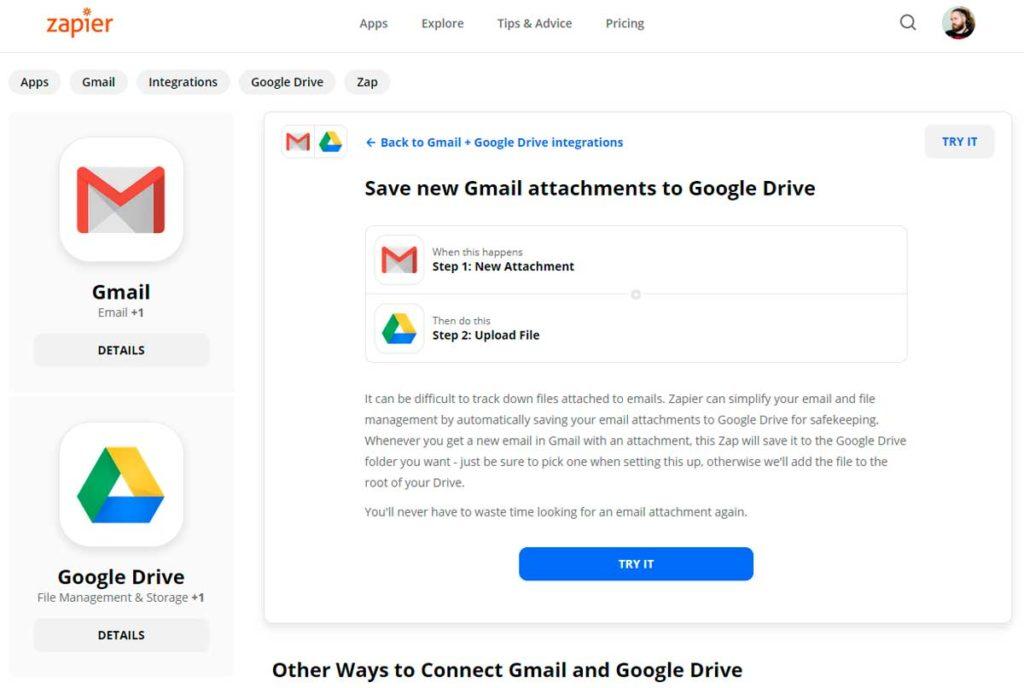Сохранять вложения Gmail в Google Диск