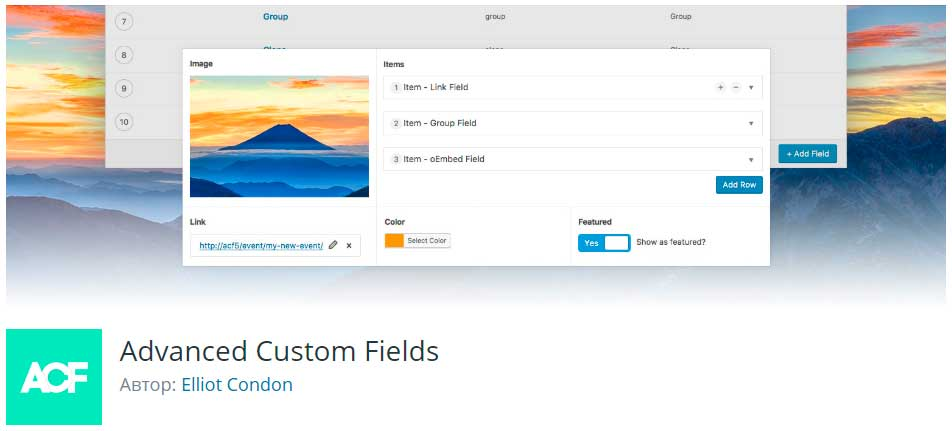 Advanced Custom Fields - лучшие плагины wordpress