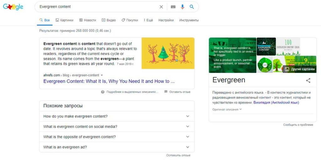 вечнозелёный контент в Google