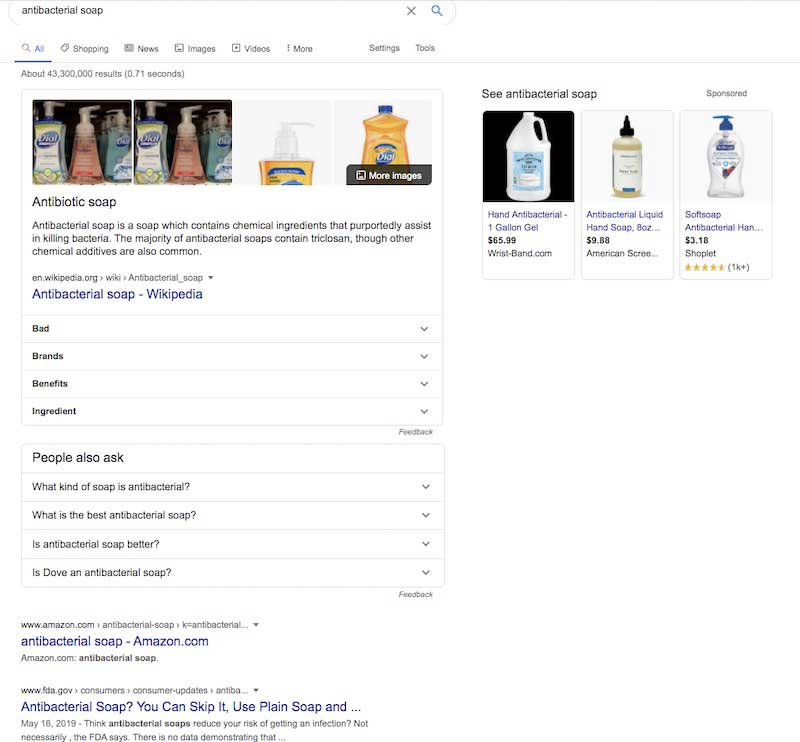 """Поисковая выдача Google по запросу """"antibacterial soap"""""""