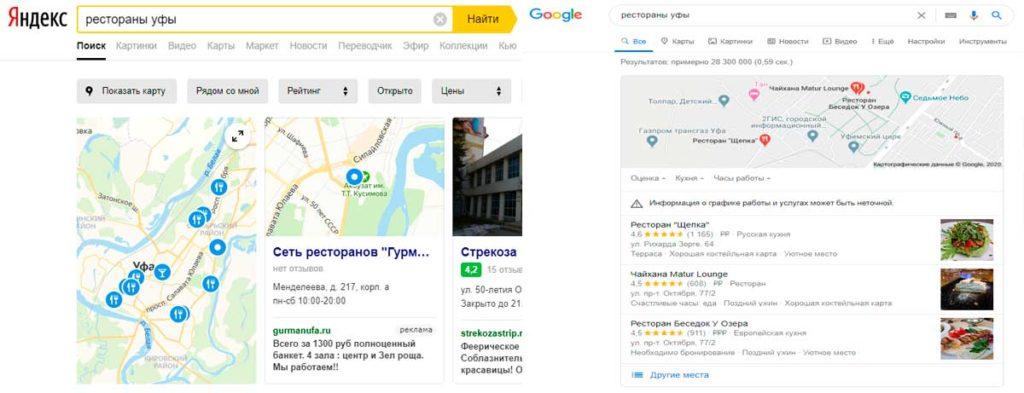 Google и Яндекс карты