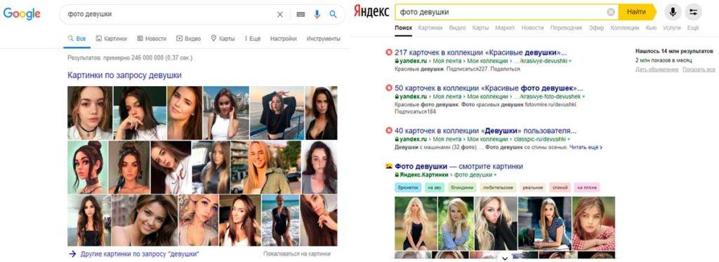 Фотографии девушек: Google vs Яндекс