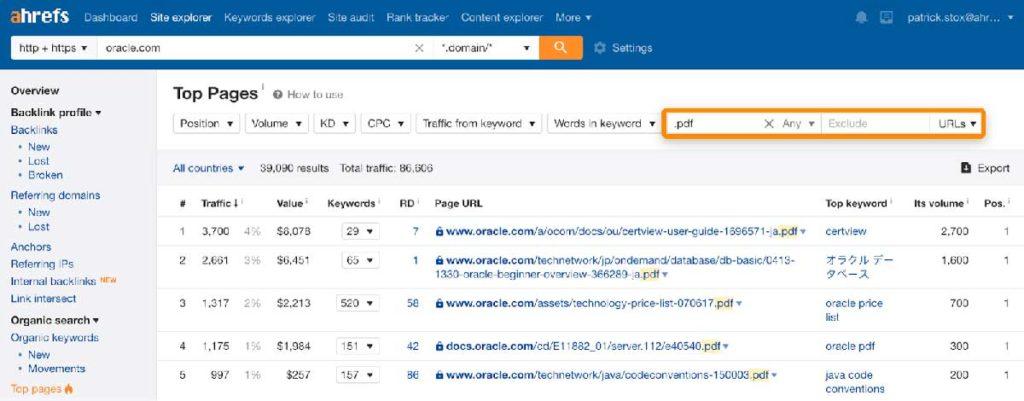 Поиск популярных PDF конкурентов