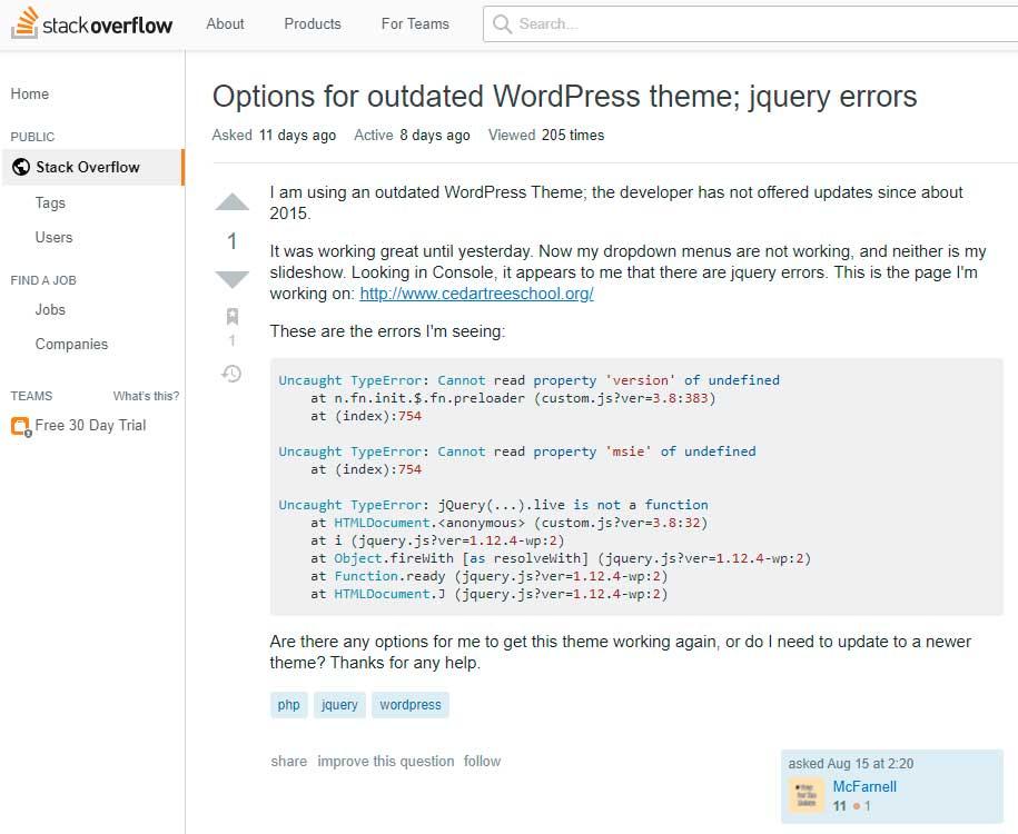 Старый JavaScript в устаревшей теме WordPress