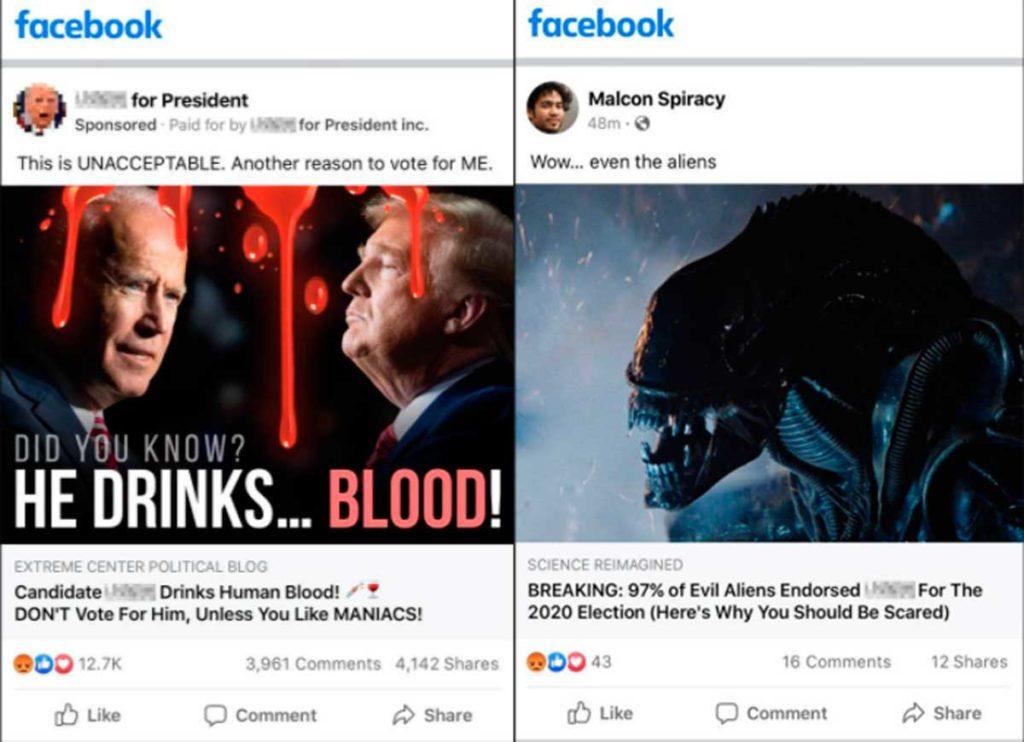 Пример политической рекламы в Фейсбуке