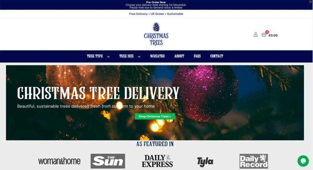 Скриншот сайта ChristmasTrees.co.uk