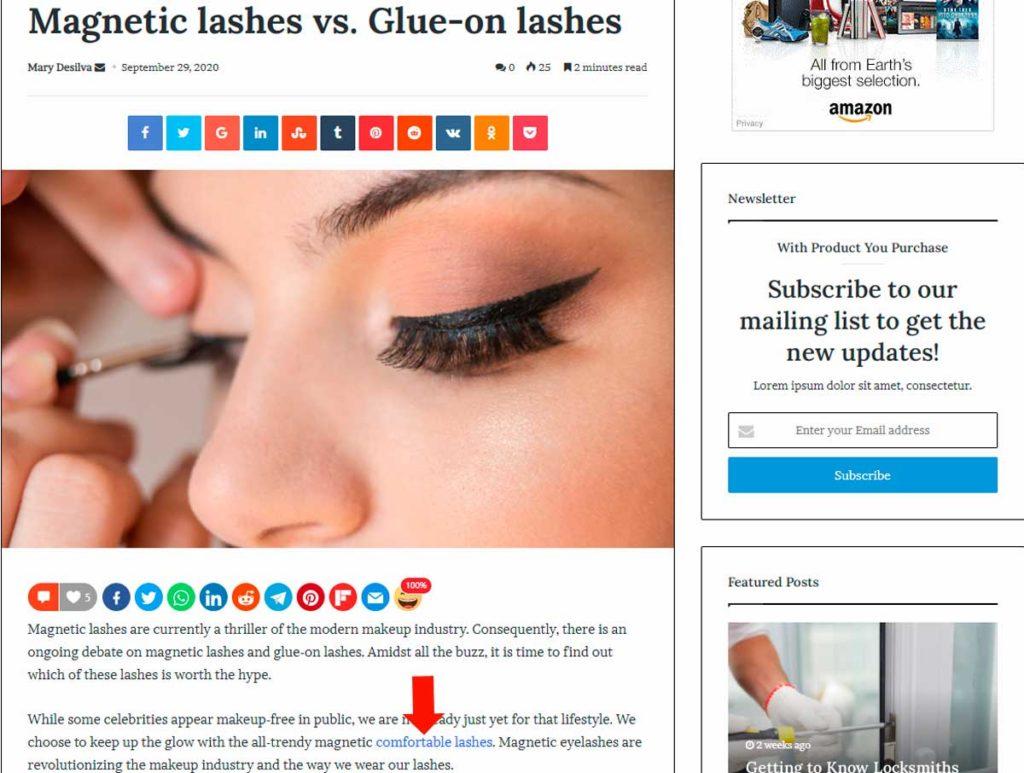 Гостевые посты Doe Lashes (пример)