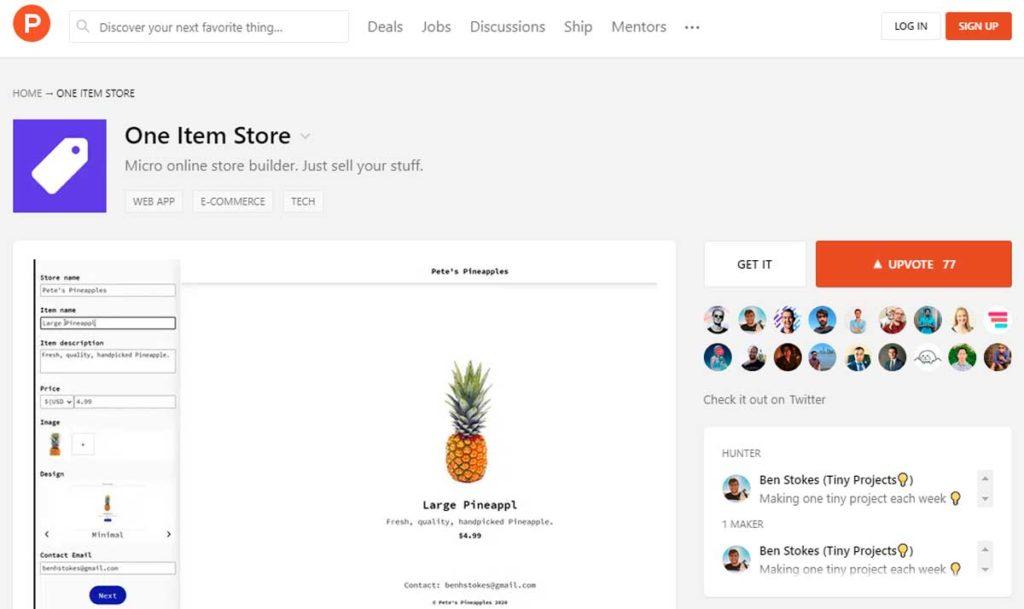One Item Store на Product Hunt