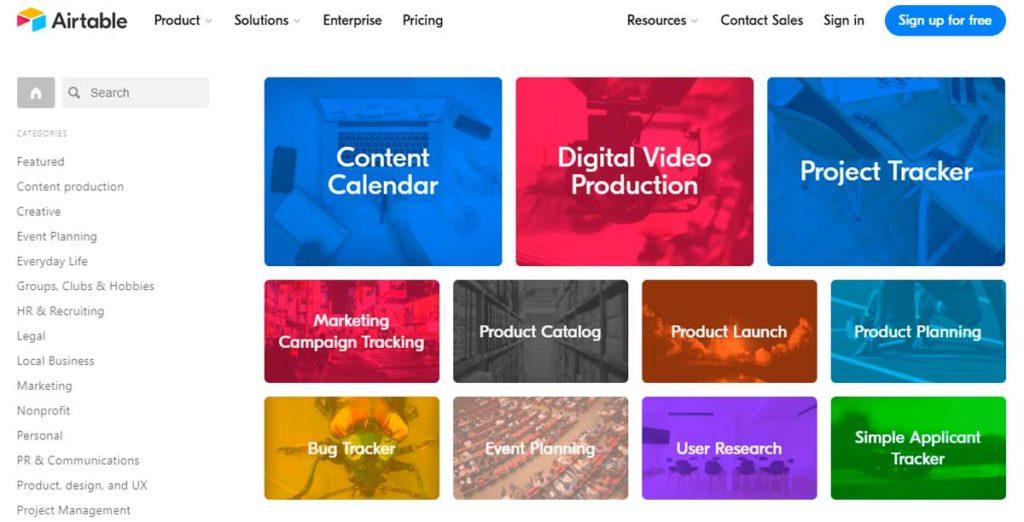 Страница сайта Airtable с категориями шаблонов