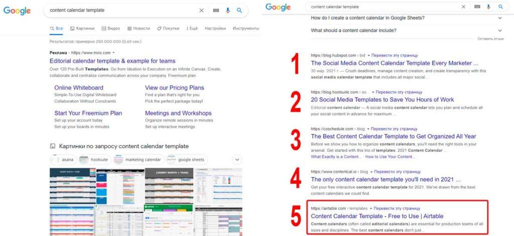Ранжирование сайта Airtable.com в поиске Google