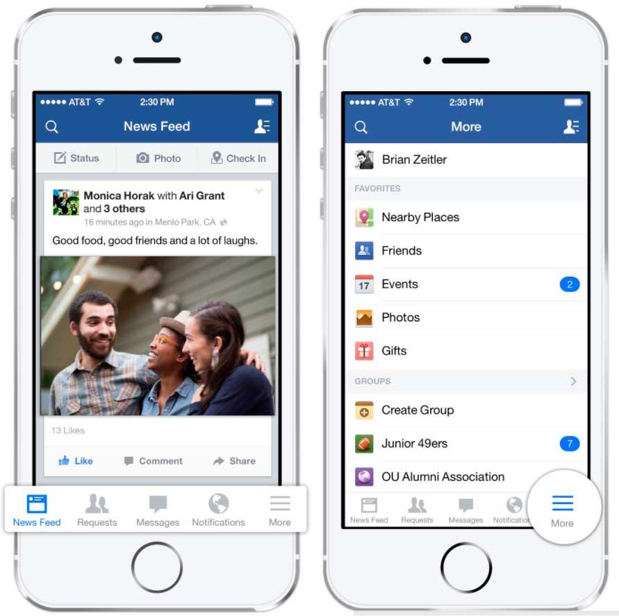 Навигационное меню Фейсбука
