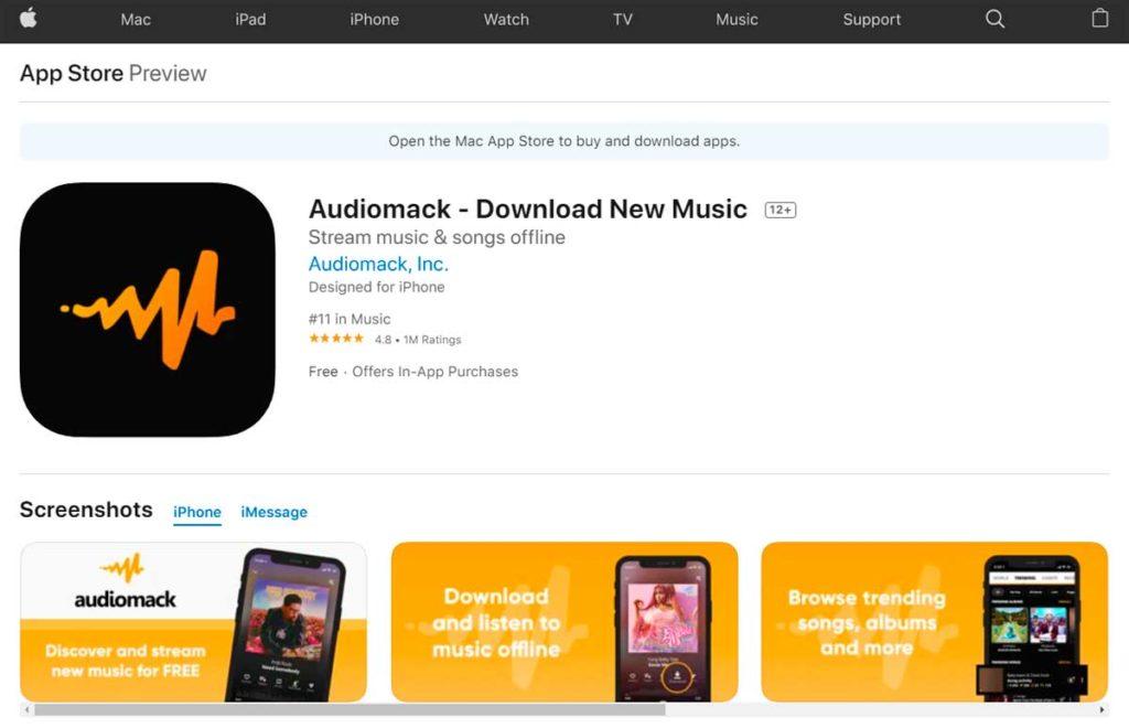 Страница приложения Audiomack в App Store
