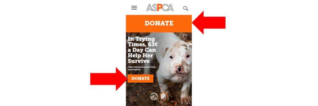 Мобильный лендинг ASPCA (пример)