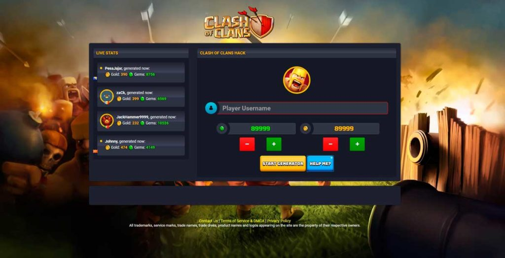 Лендинг под игру Clash of Clans