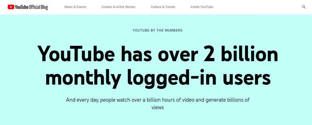 Ютуб в цифрах: 2 миллиарда активных пользователей